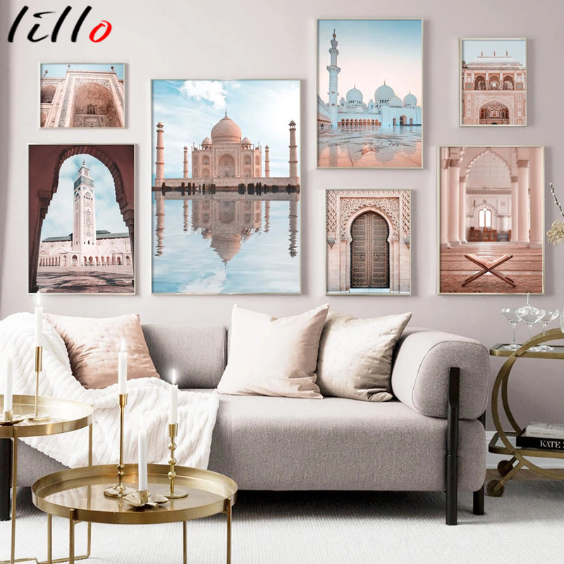 Исламская арт настенная живопись, стены искусства, дужки из плотной ткани, мышцы, холст, Аллах с принтом пейзажа, религиозный декоративный и...