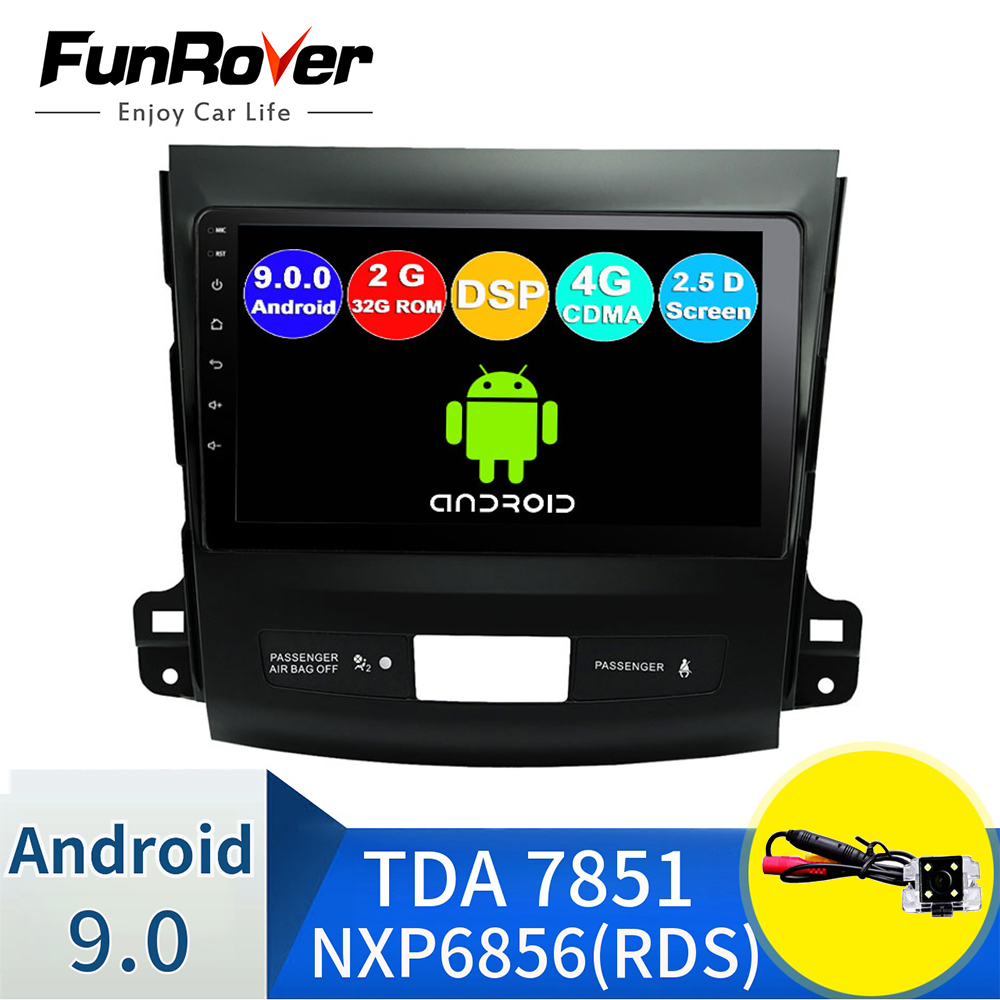 FUNROVER 2.5D+IPS android 9.0 car gps multimedia player For Mitsubishi Outlander xl <font><b>4007</b></font> car navigation radio audio player nodvd image