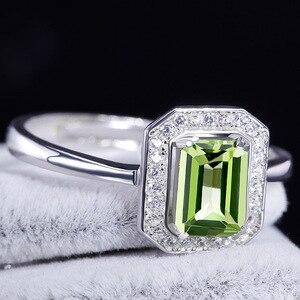 Image 4 - Bague Ringen 100% Real Sterling Silver Ring Voor Vrouw Met Rechthoek 7*5Mm Natuurlijke Olivijn Gemstone Fine Jewelry bruiloften Geschenken