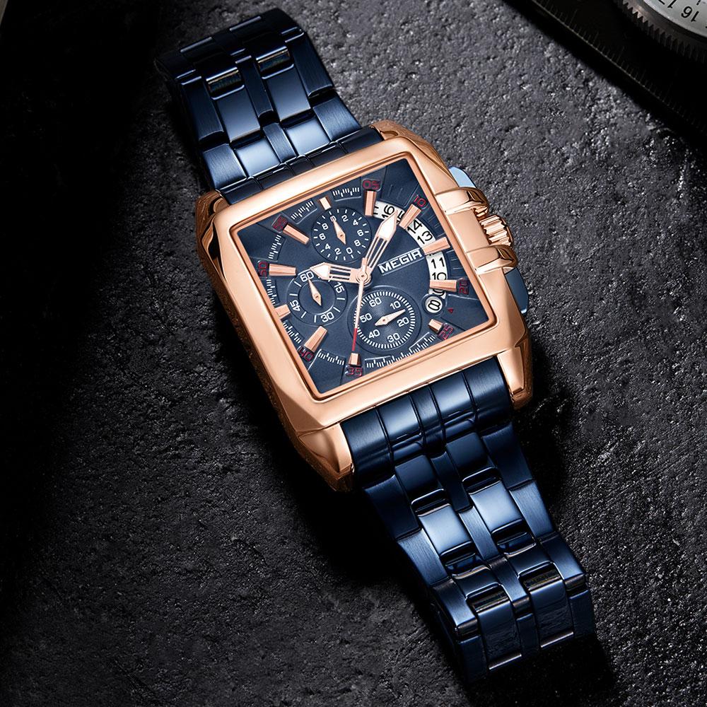 Часы megir мужские кварцевые с хронографом люксовые брендовые