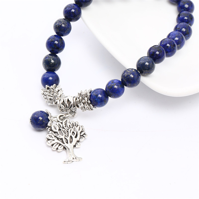 High Quality Lapis Lazuli Bracelet Natural Stone Bead Mens Tree Pendant Bracelet Throat Chakra Spiritual Gift for Him