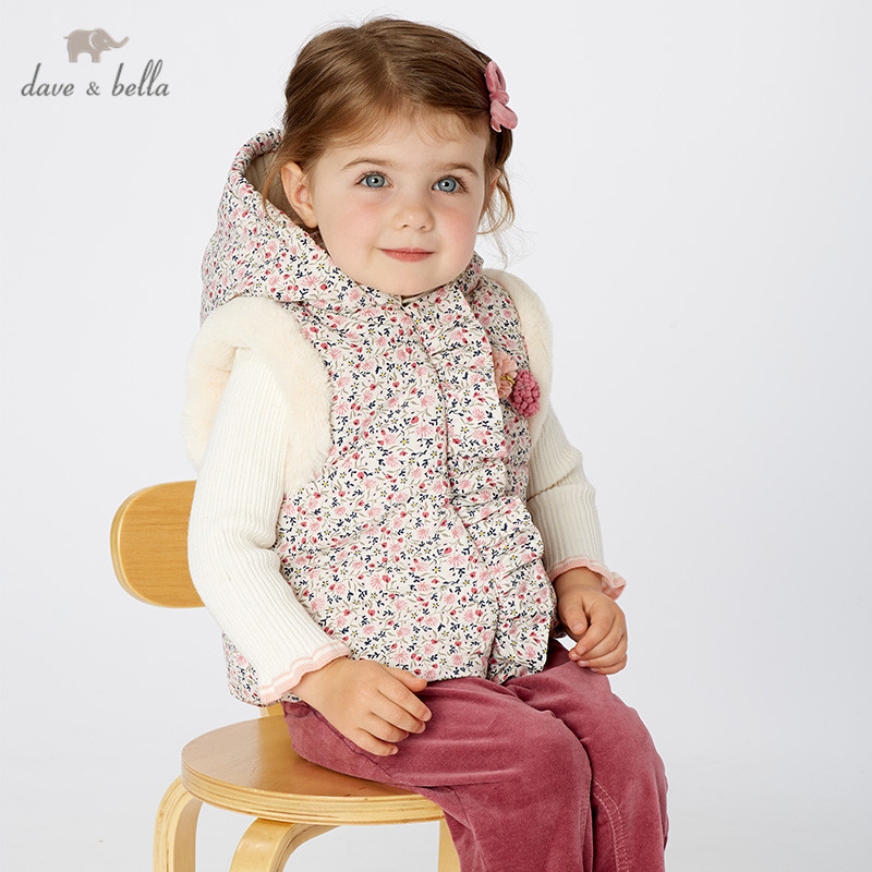 DB11552 dave bella winter kids girls cute floral zipper hooded coat children fashion unisex sleeveless vest