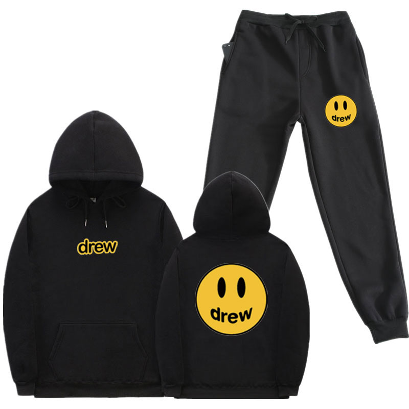 Hip Hop Hoodie + Pants Men Women Suit Justin Bieber Drew House Smile Face Print Pullover Streetwear Mens Womens Sportswear