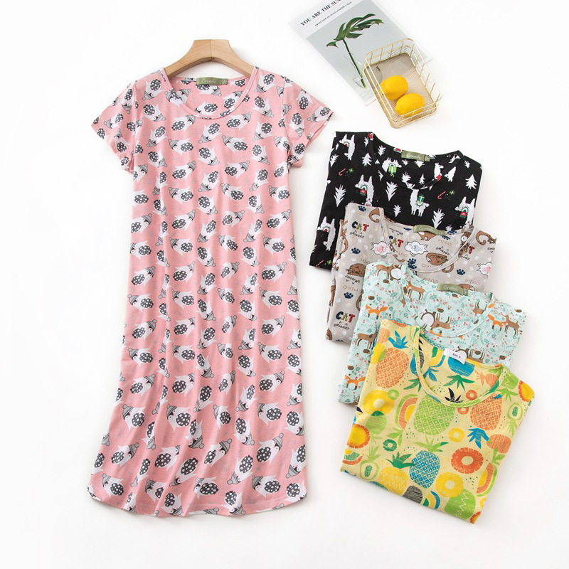 Summer Sweet nightdress women nightgowns short sleeves pyjamas sleep dress women cute Cartoon sleepwear pyjamas night dress