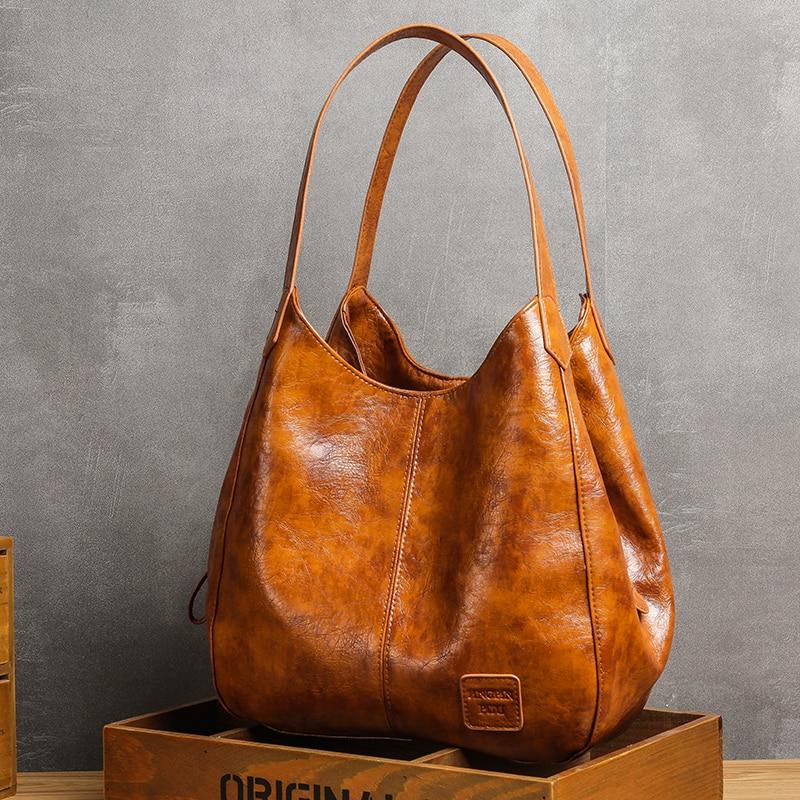 Casual Women Handbag Purse Large Capacity Tote Bag High Quality Lady Bag Vintage Hobo Bag Soft Patchwork Shoulder Bag Brown