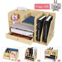 Многослойный Настольный органайзер для файлов, держатель для офиса, аксессуары для документов из дерева, креативный поднос с буквами для оф...