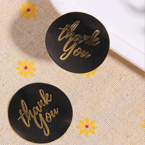 120pcs/Lot Thank you Black Gold Stickers gift decorate Stickers Adhesive Sticker
