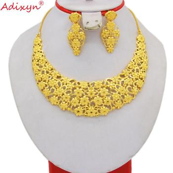 Adixyn 24K Yellow Color Ethiopian Jewelry for Women Wedding Luxury Jewelry set Arab Dubai Middle east Party Gifts N071010