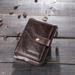 Image 5 - Portafoglio portachiavi da uomo in vera pelle di contatto con portamonete con cerniera porta carte di credito portafoglio corto rfid portachiavi per auto da uomo daffari