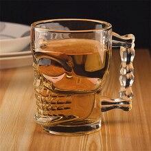 500 мл пивная Чашка 500 набор пластиковых бутылок для шампуней/кремов стекло креативный череп лицо кость с ручкой питьевой вино, водка эфирные бар KTV
