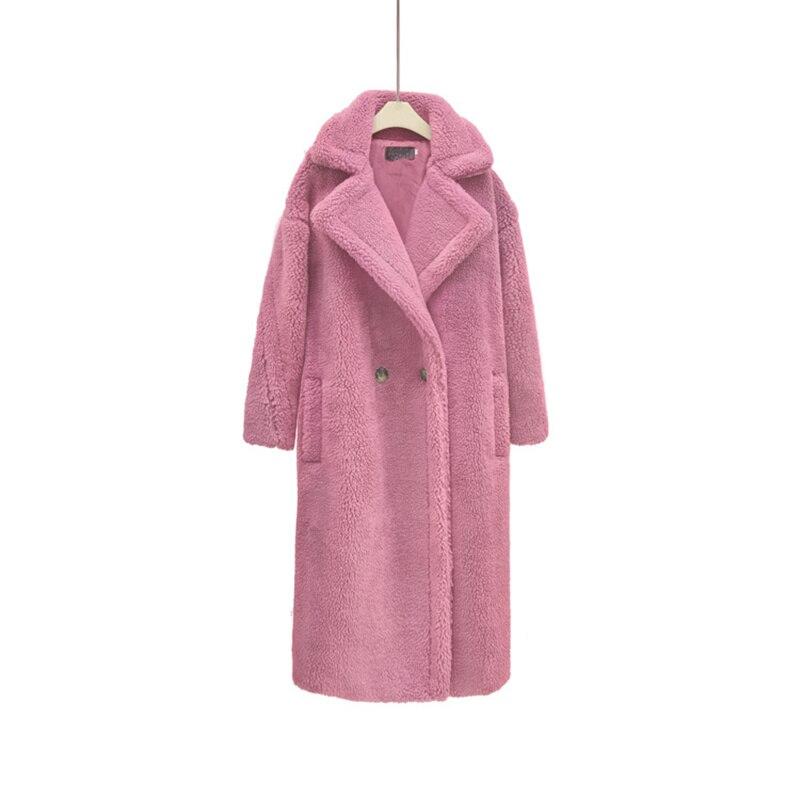 Autumn Winter Elegant Women Faux Fur Jacket Ladies Long Warm Fleece Teddy Bear Coat Menteau Femme