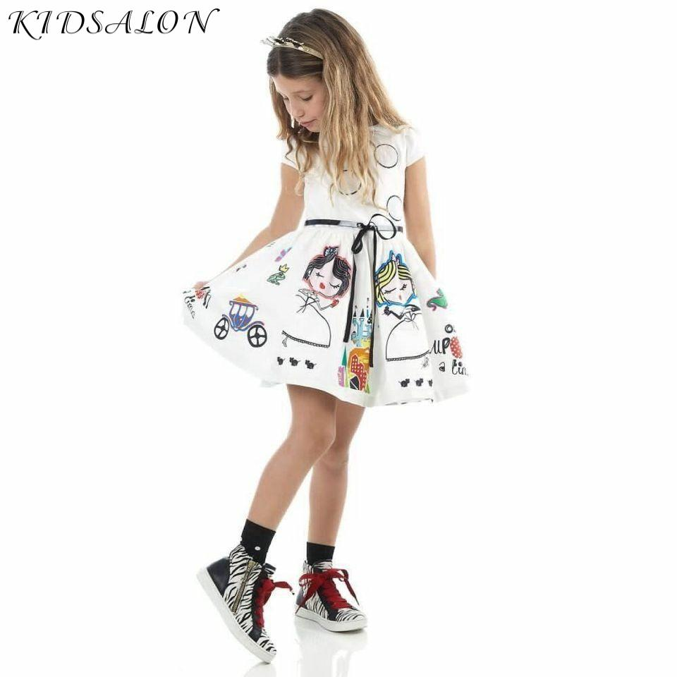 Girls Summer Dress Kids Clothes 2021 Brand Baby Girl Dress with Sashes Robe Fille Character Princess Dress Children Clothing|girls summer dress|brand girl dressgirls brand dress - AliExpress
