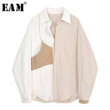 EAM – chemisier grande taille à rayures pour femme, chemise ample à manches longues et revers, à la mode, 1Y913, collection printemps-automne 2021