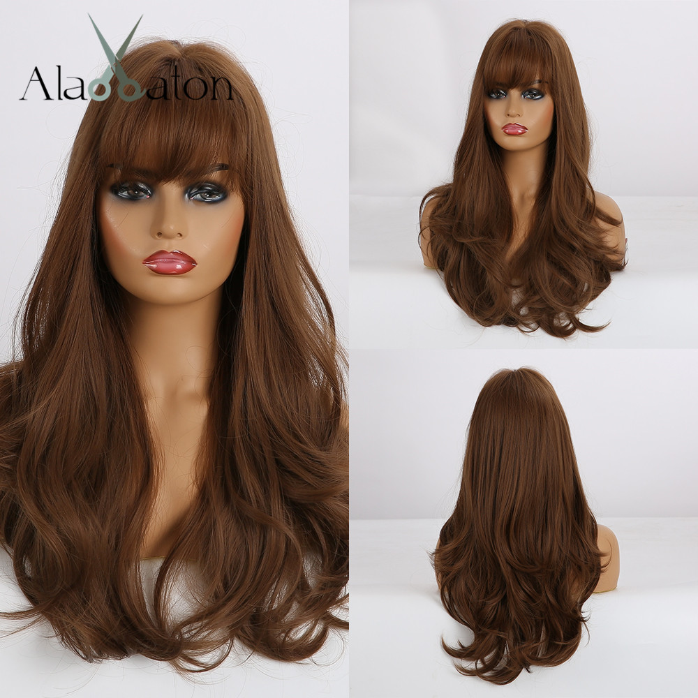 ALAN EATON Long Wavy Hair Wigs with Bangs Heat Resistant Synthetic Wigs for African American Women Natural Brown Honey Wigs