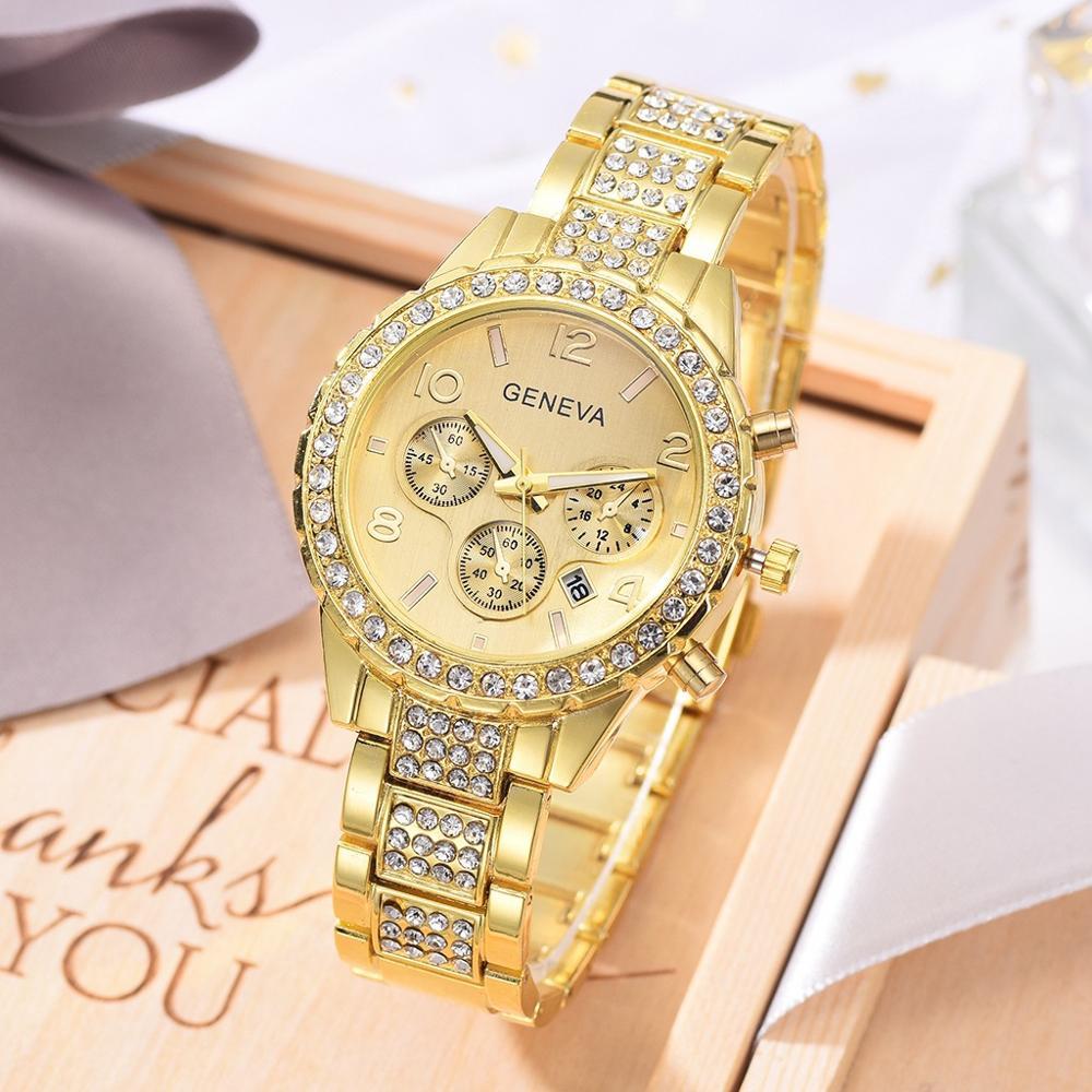 Luxury Women Bracelet Watch Ladies Full Gold Watch For Women Fashion Diamond Quartz Clock Stainless Steel Waterproof Wristwatch