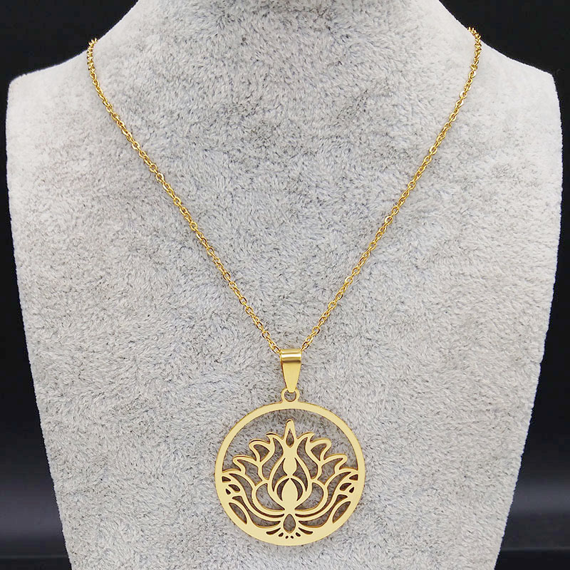 2019 Fashion Lotus Stainless Steel Necklaces for Women Gold Color Flower of Life Necklace Chain Jewelry cadenas mujer N19311 in Pendant Necklaces from Jewelry Accessories