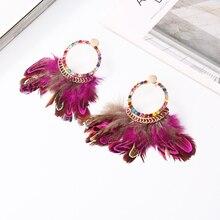 Bohemia Style Earrings Colorful Rhinestones Geometric Shape Ethnic Feathers