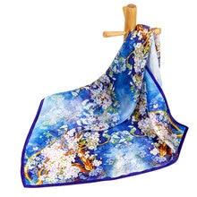 Чистый Шелковый шарф женский шарф Сакура шелковый шарф бандана Вишневый цветок шейный платок горячий маленький квадратный шелковый платок