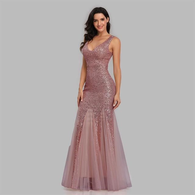 Plus Size V Neck Mermaid Cocktail Dress Long Formal Prom Party Gown Sequins Sleeveless Robe De Soriee Sexy Evening Vestido De 4