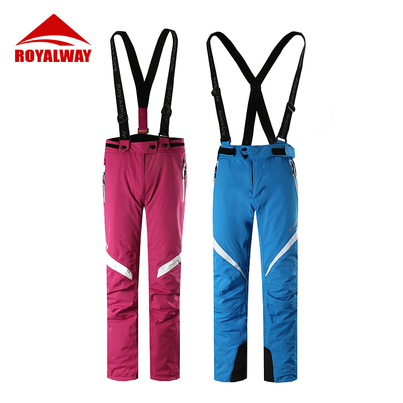 ROYALWAY Outdoor Sports Ski Pants Men&Women High Quality Suspenders Trousers Windproof Waterproof Warm Winter Snow Snowboard