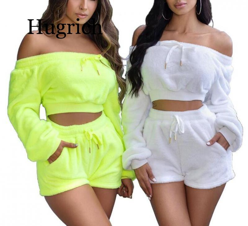 2020 Plush Off Shoulder Casual Co-ord Sets Women Autumn Winter Fashion Two Piece Outfits Long Sleeve Crop Top And Shorts Set