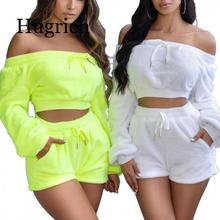 2020 Plush Off Shoulder Casual Co-ord Sets Women Autumn Winter Fashion Two Piece