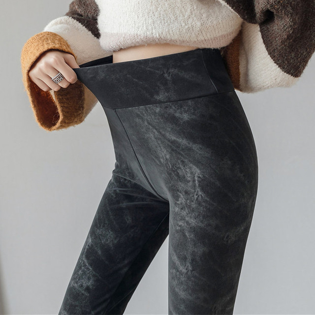 Autumn Winter Warm Faux Denim Leggings Black Pu Leather Jeans Leggings High Elasticity Velvet Leggings Skinny Pants Plus Size