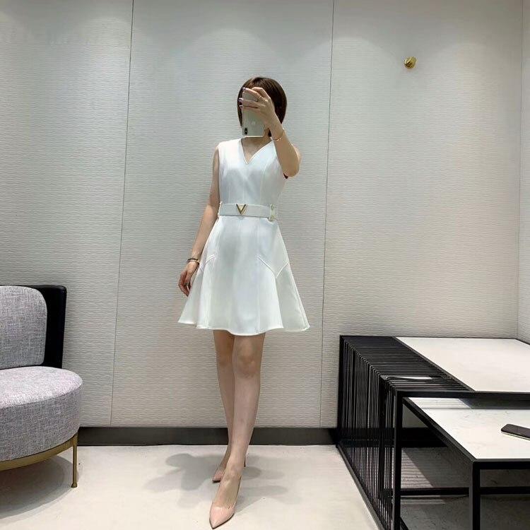2019 herbst und Winter frauen Neue Stil Elegante Mode Hohe Qualität V ausschnitt Kleid 2 Farbe Schwarz & Weiß - 2