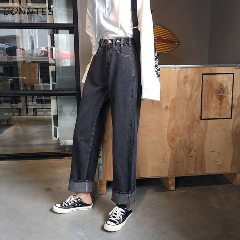 Jeans Women Solid Retro BF Simple Streetwear Loose Student Womens Clothing High Waist All-match Korean Style Ulzzang Chic Casual