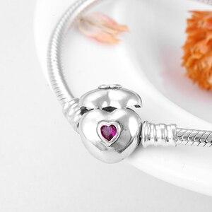 Image 2 - Gerçek 925 ayar gümüş yılan kemik zinciri kalp şekli pembe CZ büyüleyici bilezik moda kadınlar takı sevgililer günü hediyesi 2019