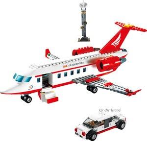 Image 5 - Sluban 0370 Stad Serie Luchtvaart Medische Ambulance Vliegtuigen Truck Auto Cijfers Educatief Bouwstenen Speelgoed Voor Kinderen Gift