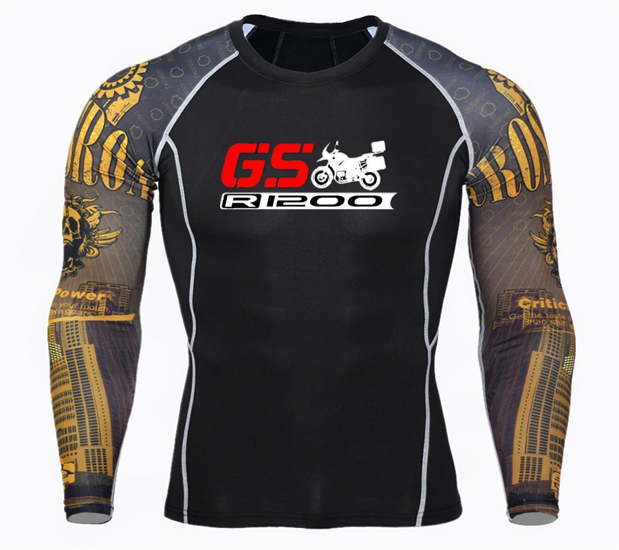 Fitness MMA Compression Shirt Men Male Long Sleeve T Shirt Bodybuilding Mens <font><b>GS</b></font> R1200 Print 3D <font><b>tshirt</b></font> Tops tees autumn image