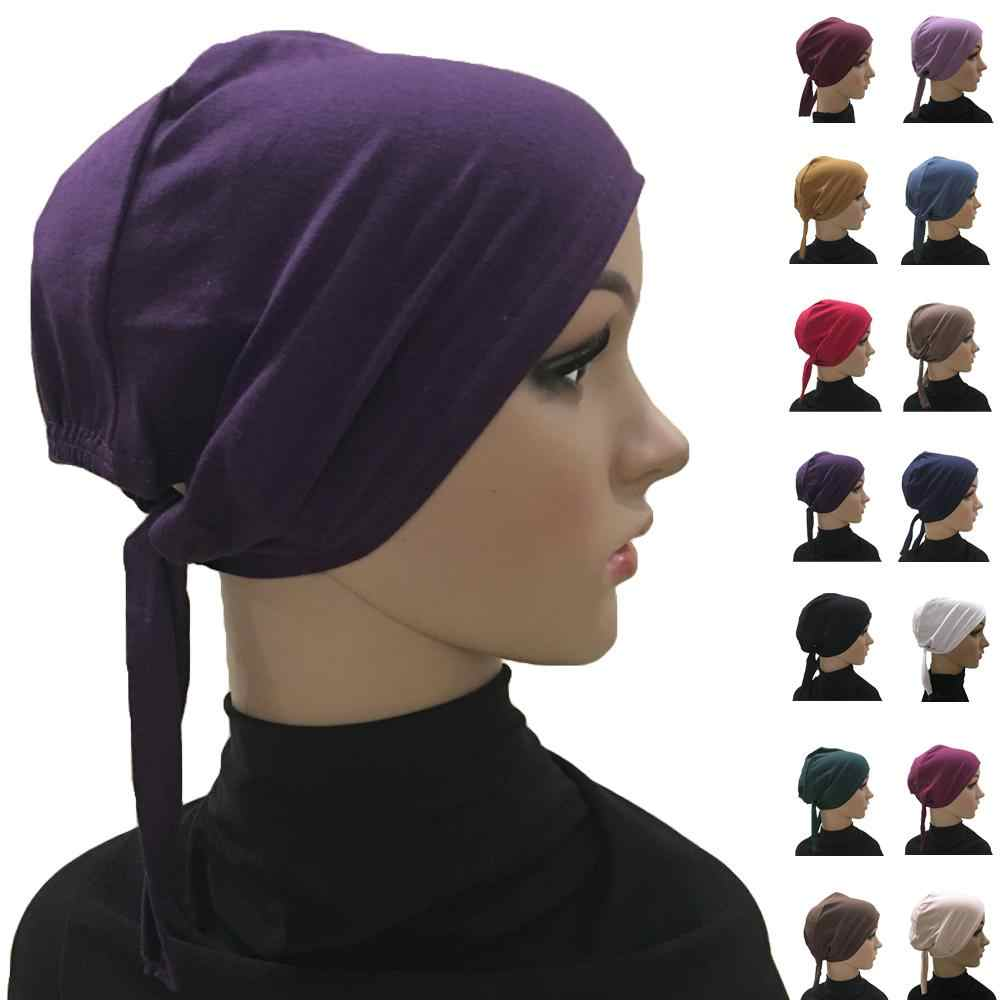 Underscarf Cap Women Muslim Bone Bonnet Inner Cap Nijna Hat Turban Islamic Beanies Skullies Cotton Hair Loss Hat Arab Chemo Cap