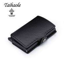 Taihaole Credit Card Holder 2020 New Aluminum Box Card Wallet RFID PU Leather Pop Up Card Case Magnet Carbon Fiber Coin Purse