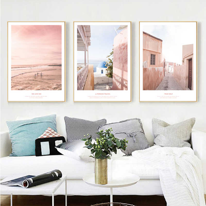 Yuke Art Modern Abstract Pink Landscape Poster and Print Canvas Painting Pictures Home Wall Art Decoration for Living Room