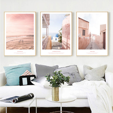 Yuke Art Modern Abstract Pink Landscape Poster and Print Canvas Painting Pictures Home Wall Decoration for Living Room