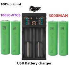 100% original 3.7V 3000 MAH Li ion 18650 battery for SONY us18650 vtc6 3000 mah 18650 battery 3.7V +1pcs Battery charger