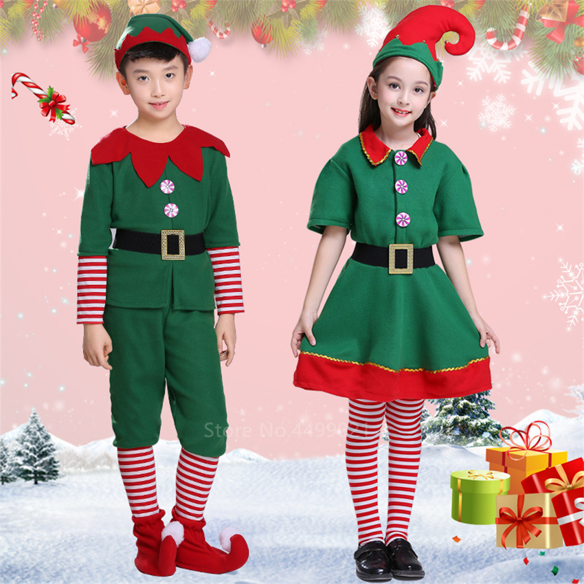 Christmas Cosplay Costumes For Kids Girls Elf Grinch Dress New Year Xmas Party Green Santa Claus Performance Clothing With Hat