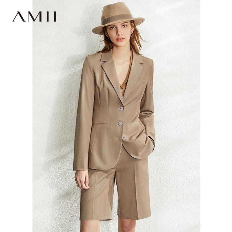 Amii Spring British Style Professional Blazer Women Lapel Slim Suit Coat  High Waist Solid Causal Shorts 12070101