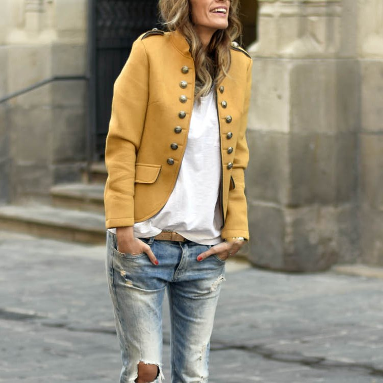 2019 Women Stand Collar Fit Slim Casual Blazer Vintage Office Ladies Jacket Long Sleeves Fall Coats Female