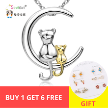 2018 Mothers days 925 Sterling Silver Chain Pendant Necklace Fashion Jewelry Cat kitty Baby Moon Necklaces&Pendants For mother