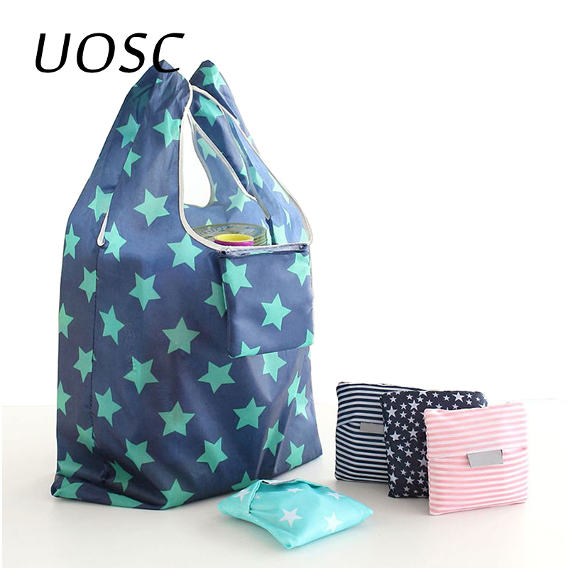 UOSC New Lady Printing Foldable Green Shopping Bag Tote Folding Pouch Reusable Handbags Convenient Large-capacity Storage Bags
