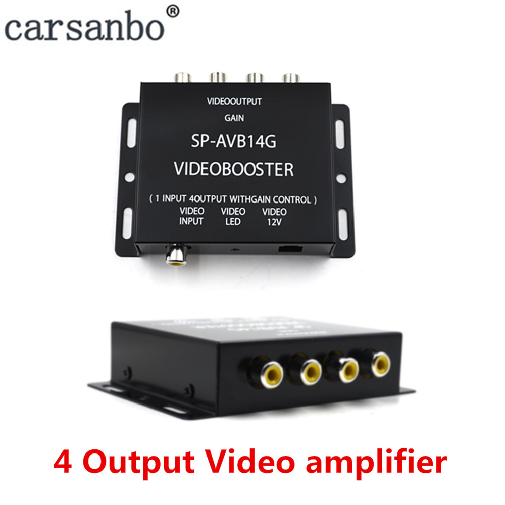 1 Input to <font><b>4</b></font> Output Car video amplifier Booster Splitter Box For car radio <font><b>monitor</b></font> image