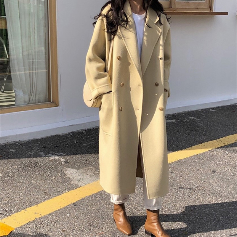 2019 Winter Loose Cashmere Coat Women Long Big Oversize Wool Coat Autumn New Korean Female Black Pink Wool Jacket Outerwear