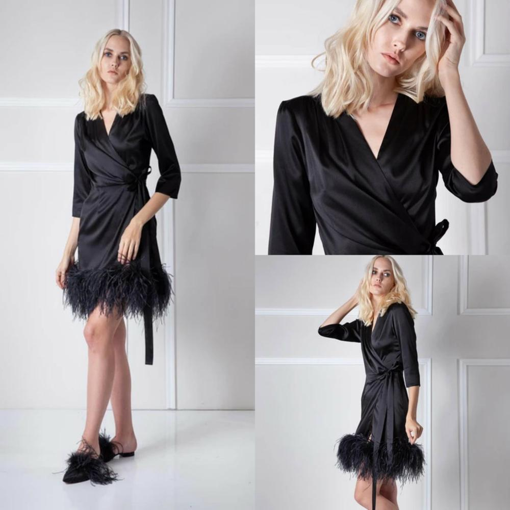 Sexy Short Feather Women Sleepwear Bathrobe Silk Kimono Dressing Gown Babydoll Lace Lingerie Bath Robe Luxury