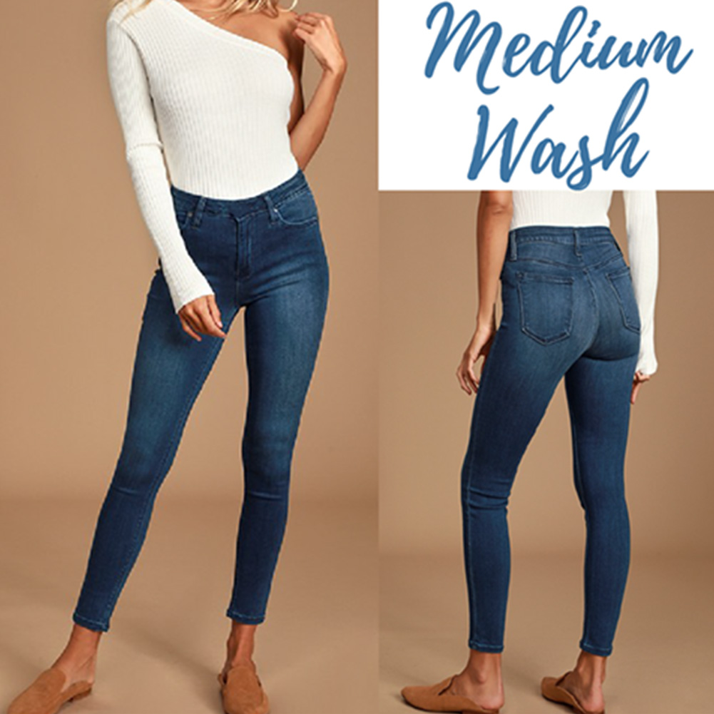 Women Legs Shaping Leggings Fake Jeans Pants Pull-on Skinny Elastic Trousers XRQ88