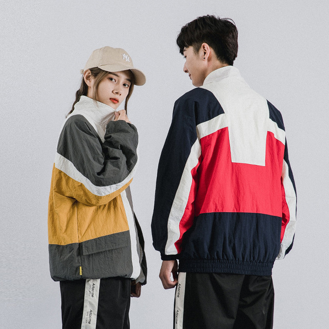 2019 Men Jacket Windbreaker Retro Streetwear Hip Hop Jacket Coat Color Block Patchwork Harajuku Track Jacket Zip Autumn Casual
