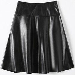 Frühling Herbst Echtem Leder Röcke Frauen Plus Größe Schwarz Echt Schaffell Rock Elegante Büro Damen Tragen 2020 LWL1598