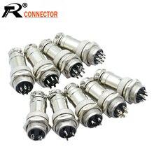 цена на 10sets/lot GX16 2/3/4/5/6/7/8/9 Pin Male & Female 16mm L70-78 Circular Aviation Socket Plug Wire Panel XLR Connector