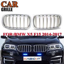 MagicKit 1 Pair F15 F85 X5 F16 F86 X6 Silver Chrome Kidney Hood Car Front Grill for BMW Xdrive Vehicle Front Bumper 14-17 Grille pair matte black m color front left right side kidney grille grill for bmw x5 f15 x6 f16 x5m f85 x6m f86 2014 2015 2016 2017